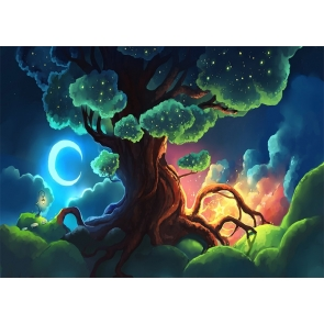 Crescent Moon Fairy Tale World Large Tree Wonderland Backdrop Party Stage Studio Photography Background