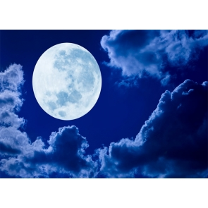 At Night Bright Full Moon Backdrop Party Stage Studio Photography Background