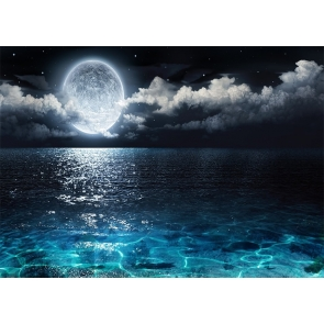 On Sea Full Moon Backdrop Party Stage Studio Photography Background