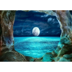 Cave Sea Bright Full Moon Backdrop Party Stage Studio Photography Background
