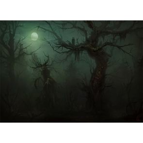 Under The Moon Terror Dark Forest Scary Dryad Halloween Backdrop Party Stage Photography Background