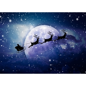 Snowflake Santa Sleigh Flying On The Moon Christmas Party Backdrop Stage Photo Booth Photography Background