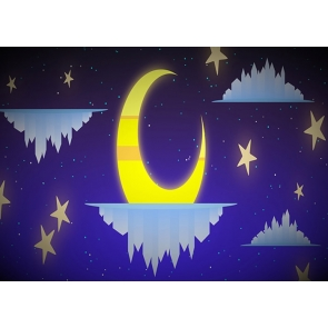 Cartoons Gold Stars And Crescent Moon Backdrop Baby Shower Birthday Party Photography Background