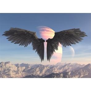 Starry Sky Black Angel Wings Backdrop Studio Photography Background
