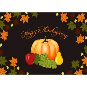 Pumpkin Fruit Maple Leaf Theme Happy Thanksgiving Backdrop Party Photography Background