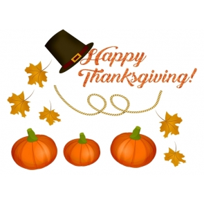 Simple Top Hat Pumpkin Leaf Theme Happy Thanksgiving Backdrop Party Photography Background