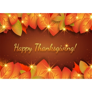 Shining Red Leaf Theme Happy Thanksgiving Backdrop Party Photography Background