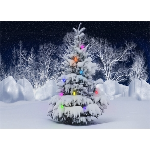 Winter Scene Snow Covered Christmas Tree Backdrop Stage Party Photography Background