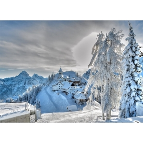 Winter Scene Snow Covered Village Backdrop Stage Photography Background