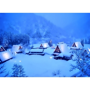Winter Scene Snow Covered Village Christmas Backdrop Stage Photography Background