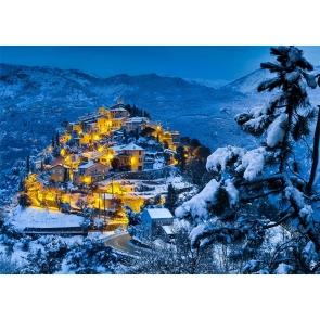 Winter Scene Bright Lights Christmas Village Backdrop Stage Photography Background
