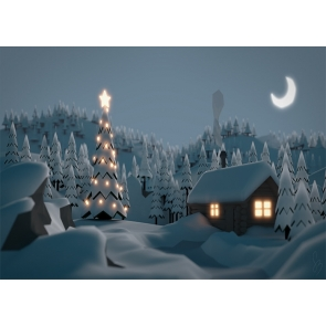 Cute Cartoon Winter Scene Snow Covered Wood House Christmas Tree Backdrop Stage Party Photography Background