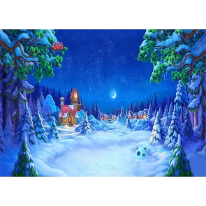 Cute Cartoon Winter Scene Snow Covered Christmas Village Backdrop Stage Photography Background