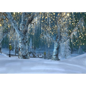 Snow Covered Winter Scene Backdrop Christmas Stage Photography Background
