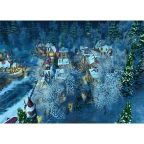 Snow Covered Village Winter Scene Christmas Backdrop Stage Photography Background