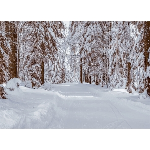 Snow Covered Forest Road Winter Scene Backdrop Christmas Stage Photography Background