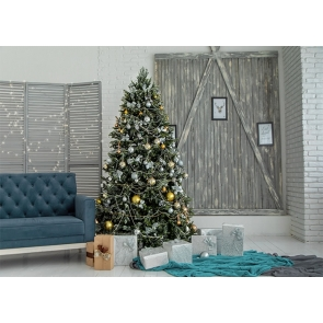 Wood Brick Wall Christmas Tree Backdrop Party Photography Background