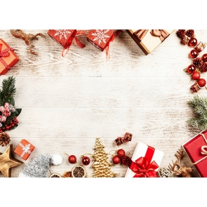 Santa's Gift Box Wood Board Christmas Party Backdrop Photo Booth Photography Background