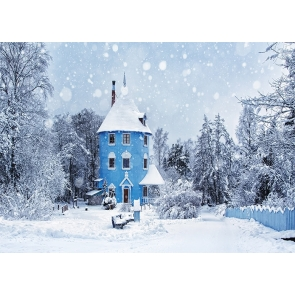 Snow Covered Forest Blue Castle House Winter Scene Christmas Backdrop Stage Photography Background