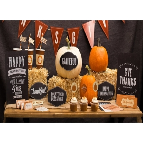 Pumpkin Straw Pile Banner Happy Thanksgiving Party Backdrop Stage Photography Background