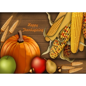 Cartoons  Pumpkin Corn Theme Happy Thanksgiving Party Backdrop Photography Background