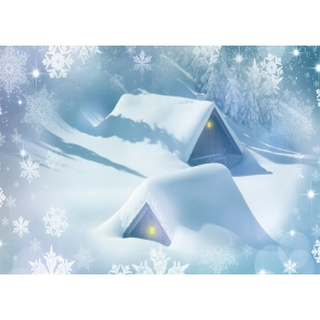 Snow Covered House Snowflake Christmas Backdrop Stage Party Photography Background