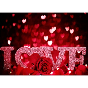 Red Rose Pink Glitter IOVE Valentines Day Backdrop Photography Background