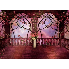 Retro Middle Ages Balcony Pink Rose Garden Wedding Backdrop Photography Background