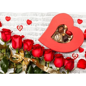 Musical Notes Red Rose Sweet Chocolate Valentines Backdrop Wedding Photography Background