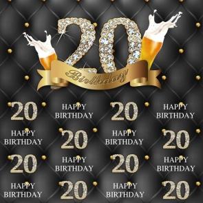 Diamond Theme Happy 20th Birthday Backdrop Party Photography Background