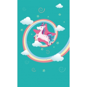 Blue Background Rainbow White Clouds Unicorn Backdrop