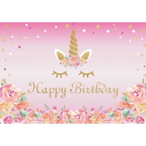 Pink Background Flower Golden Glitter Girl Happy Birthday Party Unicorn Backdrop Cake Smash Decoration Prop