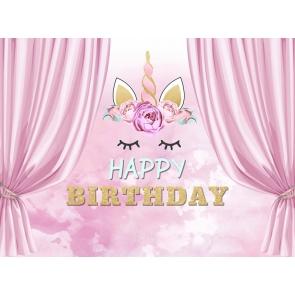 Girl Happy Birthday Party Golden Glitter Unicorn Backdrop Cake Smash Background Decoration Prop