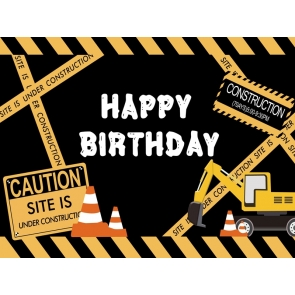 Construction Theme Boy Happy Birthday Backdrop Cake Table Decorations Background Prop
