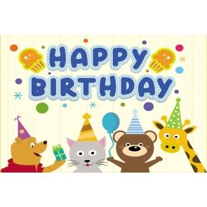 Cartoon Safari Kid Happy Birthday Backdrop Photography Background Cake Smash Decoration Prop