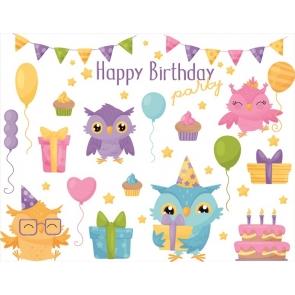 Owl Theme Kid Happy Birthday Backdrop Photography Background Cake Smash Decoration Prop