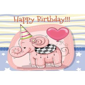 Pink Elephant Theme Kid Girl Happy Birthday Backdrop Photography Background Cake Smash Decoration Prop