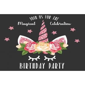 Pink Glitter Unicorn Girl Happy Birthday Party Backdrop Cake Smash Background Decoration Prop