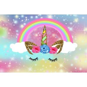 Gold Glitter Unicorn Rainbow Girl Happy Birthday Party Backdrop Cake Smash Background Decoration Prop