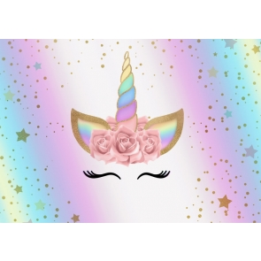 Rainbow Unicorn Girl Happy Birthday Baby Shower Party Backdrop Photography Background Prop