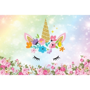 Flower Unicorn Baby Shower Backdrop  Kid Happy Birthday Photography Background Decoration Prop