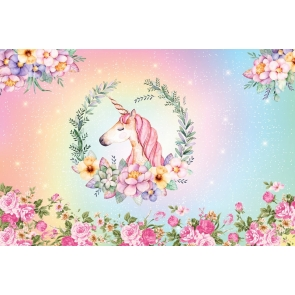 Flower Unicorn Baby Shower Backdrop Kid Girl Happy Birthday Studio Photography Background Decoration Prop