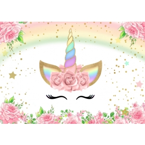 Baby Shower Kid Happy Birthday Rainbow Unicorn Backdrop Studio Photography Background Decoration Prop