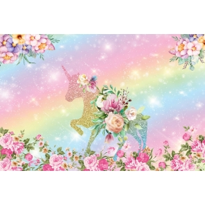 Rainbow Glitter Flower Unicorn Theme Backdrop Kid Girl Happy Birthday Baby Shower Studio Photography Background Decoration Prop