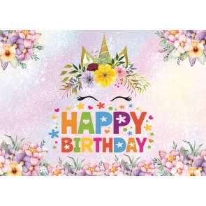 Flower Glitter Unicorn Photo Kid Happy Birthday Backdrop Photography Background Decoration Prop