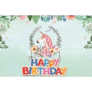 Unicorn Photo Backdrop Kid Happy Birthday Photography Background Decoration Prop