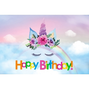 Rainbow Cloud Sky Unicorn Happy Birthday Backdrop Photography Background Decoration Prop