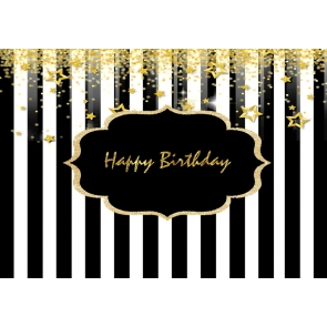 Black And White Striped Background With Gold Happy Birthday Party Backdrop Decorations Prop