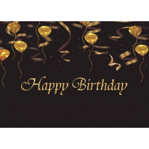 Black And Gold Balloon Glitter Happy Birthday Backdrop Photography Background Decoration Prop