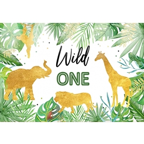 Gold Glitter Safari Wild Theme Backdrop Baby One Year Old 1st Birthday Party Photography Background Decoration Prop